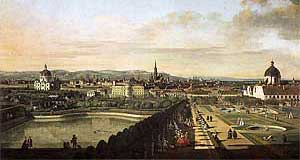 A Canaletto painting depicts the view on Vienna from the Belvedere - the Salesianerinnenkirche features in the right corner