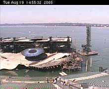 The famous floating stage is shown by this Bregenz Webcam