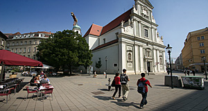 The Karmeliterkirche or Carmelite Church in Vienna is at the heart of one of the city's most fashionable neighbourhoods