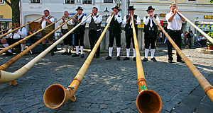A group of folk musicians performing in an unusual setting - in the Burgenland