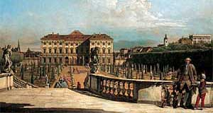 A contemporary view on Palais Liechtenstein Palace in Vienna by Canaletto