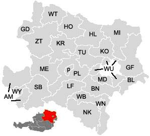 Map of the districts (Bezirke) of Lower Austria (Niederösterreich)