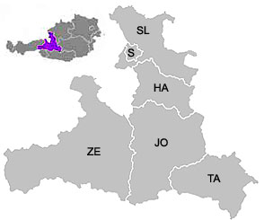 Map of the districts (Bezirke) of Salzburg