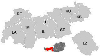 Map of the districts (Bezirke) of Tyrol (Tirol)