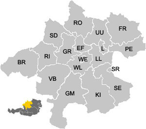 Map of the districts (Bezirke) of Upper Austria (Oberösterreich)