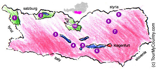 Map of Carinthia with References to Major Sightseeing Attractions