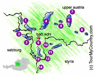A Map with Sightseeing Attractions of the Salzkammergut