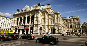 The Staatsoper or National Opera in Vienna - not very glamorous if you notice the traffic in front of it