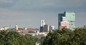 The Wienerberg office towers as observed from the Gloriette in Hietzing