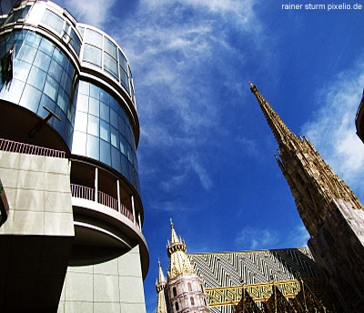 The Stephansdom Cathedral and the modern Haashaus in Vienna