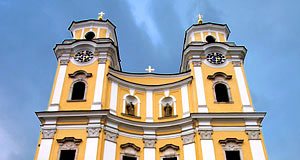 The old monastery's church of Mondsee featured in 'The Sound of Music'