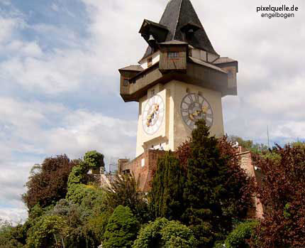 The Uhrturm clocktower in the Styrian capital Graz