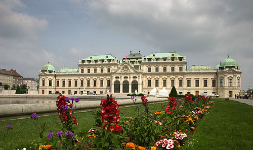 Back-side of Belvedere Palace with Baroque flowerbeds in the foreground