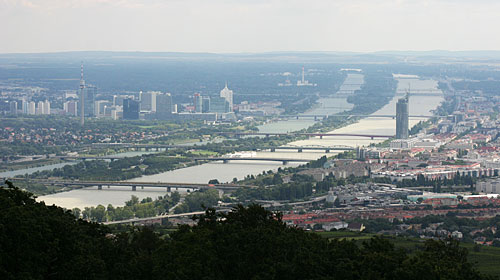 View from Mount Leopoldsberg on Vienna: The Donauinsel