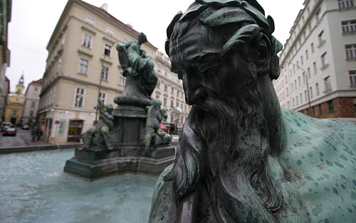 The Baroque fountain Donnerbrunnen at Neuer Markt Square in Central Vienna
