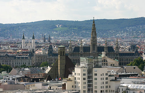View towards the Rathaus from Stephansdom Cathedral